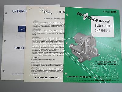 Unipunch 1125 Universal Punch & Die Sharpener Info & Instructions Manual