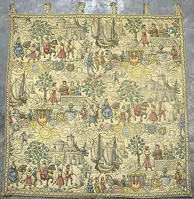 "1950's VERY FINE DETAILED FRENCH VINTAGE TAPESTRY 43""X43"" T-144"