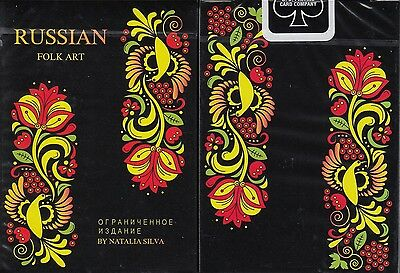 Russian Folk Art Limited Edition Black Playing Cards Poker Size Deck USPCC 2017