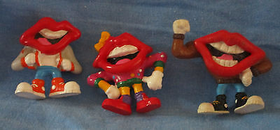 """3 Tang Drink Mix Advertising Lips, 2"""",  PVC Figures, Only Lightly Used"""