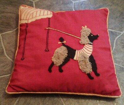 Vintage Red French Spaghetti Poodle MCM (Mid Century Mod) embroidered PILLOW DOG