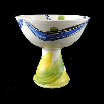 Handmade Studio Art Pottery-footed desert bowl comport-Made by Alison Arnold (Y)