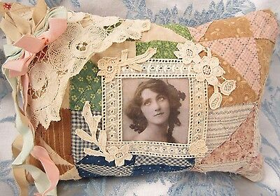 Cupboard Pillow Tuck Antique Lace Hand Made Quilt Vintage Photo Lady Primitive