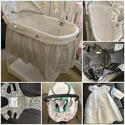 Bassinet, Walker, Bouncer, Canguru, Electric Pump, White Dress And More.