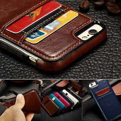 Luxury Leather Wallet Card Holder Slim Back Case Cover For iPhone 6 6S 7 Plus
