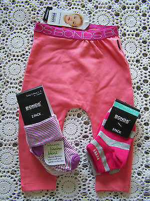 BNWT....*Bonds* Leggings...Size 0 & 4 Socks...Size 6-12 Months & 1-2 Years....