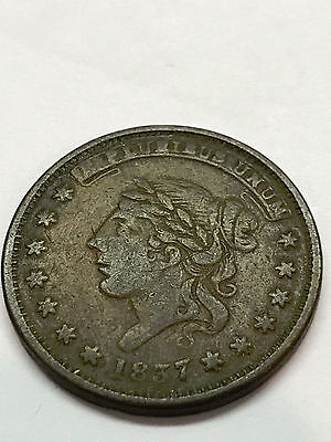 1837 One Cent  Hard Times Token VG #2713