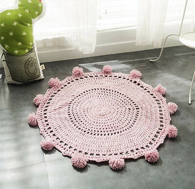Pink Crochet Handmade Baby's Play Mat Blanket/ Nursery Decor Scandi Kids Rug