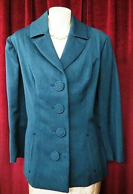 50's True Vtg Olive Green Wool Jacket With Baby Pink Satin Lining