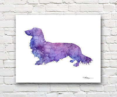 Long Haired Dachshund 2 Abstract Watercolor Painting Art Print by Artist DJR