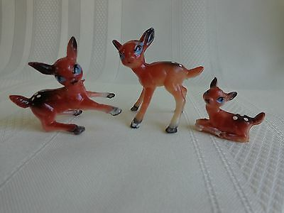 Vintage Miniature Hard Plastic Deer Fawn Figurines