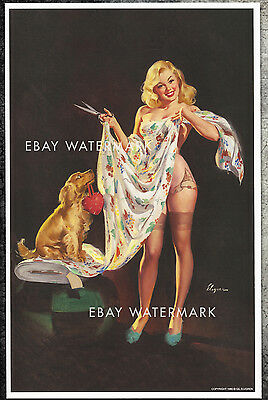 "1940s Elvgren Authentic Pin-Up Poster Art Print ""Trying It On For Sighs"" 11x17"