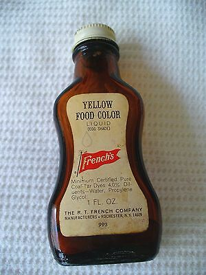 Vintage FRENCH'S YELLOW FOOD COLOR Spice/Extract Bottle