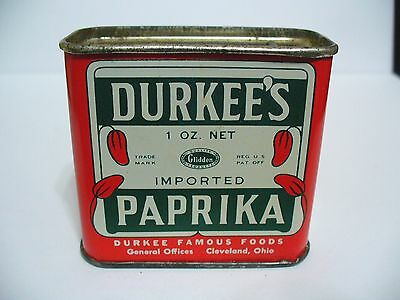 Vintage DURKEE'S PAPRIKA Spice Tin - 1 Oz. - Colorful Graphics - Marked 20 Cents