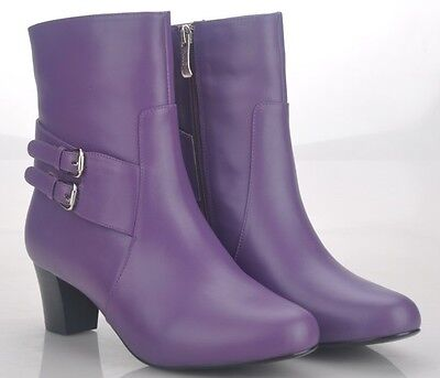 Women's Purple Leather Boots Size EUR 37, 38, 39, WITH FREE BELT