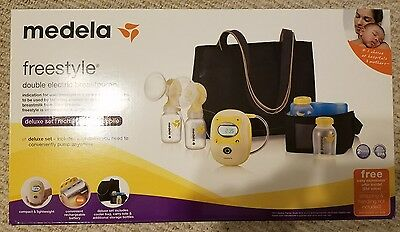 Medela Freestyle Deluxe Double Electric Breastpump + Hands Free Bustier + extras