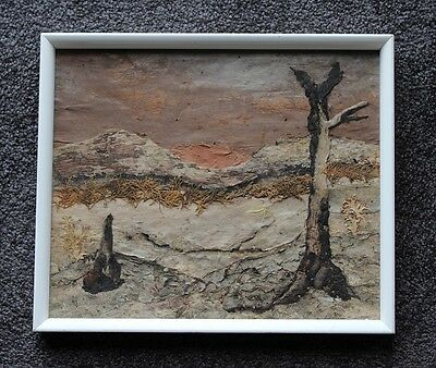 Vintage AUSTRALIANA Folk Art BARK Picture Featuring The Dry Bush Landscape