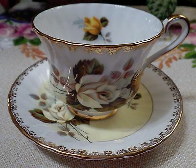 Vintage Tea Cup & Saucer Delphine Fine Bone China England Beautiful Yellow Roses
