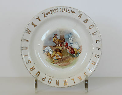 ROOSTERS & HEN Baby Plate - Antique Pottery Alphabet Child ABC PLATE or Bowl