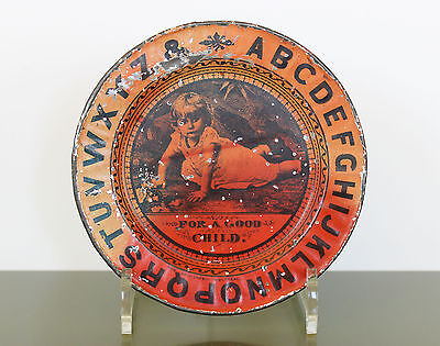 FOR A GOOD CHILD Antique Child ABC LITHOGRAPH TIN PLATE Thomas Davidson Montreal