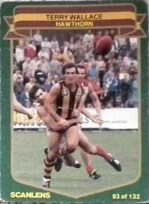Scanlens VFL AFL Football Cards 1985 Hawthorn #93 Terry Wallace