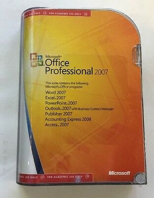 Microsoft OFFICE PROFESSIONAL 2007 ~ Boxed with Discs & Product Key ~ GENUINE