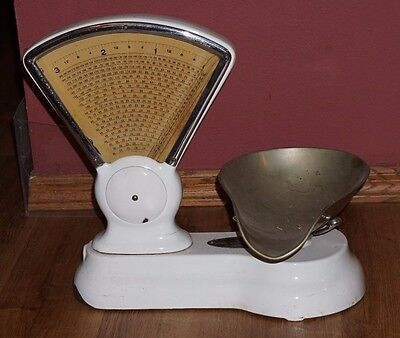 3 Pound White Porcelain Antique Candy Store Scale