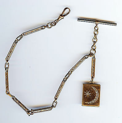 *antique Gold Tone Ornate Watch Chain Fob Rhinestone Star Crescent Moon Locket*