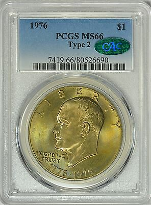 1976-D Type 2 Eisenhower Dollar PCGS MS66 - CAC Approved - Toning