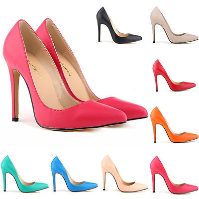 Women's Pointed Shoes High Heels Fine Heels Solid Patent Leather SIZE US 4-11