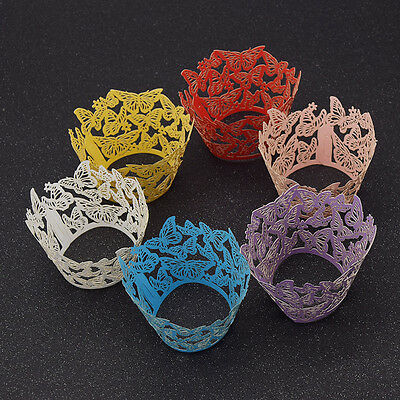 10 Pcs Laser Cut Butterfly Cupcake Wrappers Liners Wraps Cases Wedding Decor