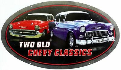 TWO OLD CHEVY CLASSICS 1955 & 1957.  610 X 360 Auto Memorabilia Metal tin Sign