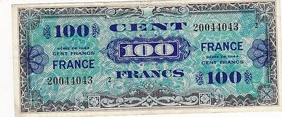 1944 France 100 Francs Allied Military Currency Note, Block #2, Pick 123b