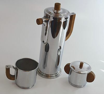 Manning, Bowman Chrome & Wood Coffee/Cocktail Set 1930s Streamlined Art Deco