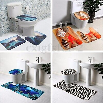 5 Types 3Pcs Set Bathroom Non-Slip Pedestal Rug + Lid Toilet Cover + Bath Mat