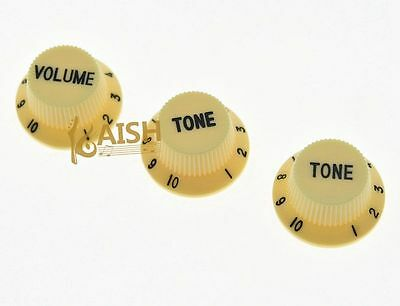 Cream w/ Black ST Guitar Knobs Volume and Tone Knobs Set of 3 for Stratocaster