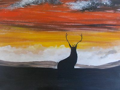 Stag on high ground original  acrylic canvas painting