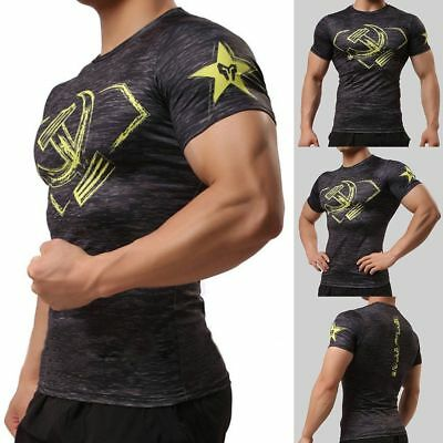 Athletic Mens Compression Gym Workout Top Fitness Body Building Crossfit T-shirt