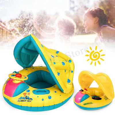 Inflatable Sunshade Baby Child Kid Float Seat Boat Swimming Pool Ring Raft Tube