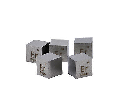 Erbium Metal 10mm Density Cube 99.95% Pure for Element Collection
