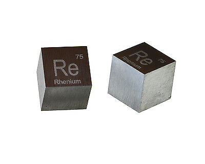 Rhenium Metal 10mm Density Cube 99.95% Pure for Element Collection
