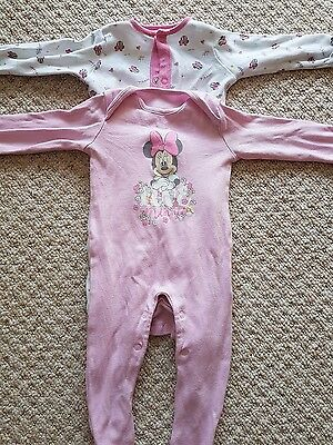 2 Disney Baby Minnie Mouse Sleepsuits Up to 3 Months