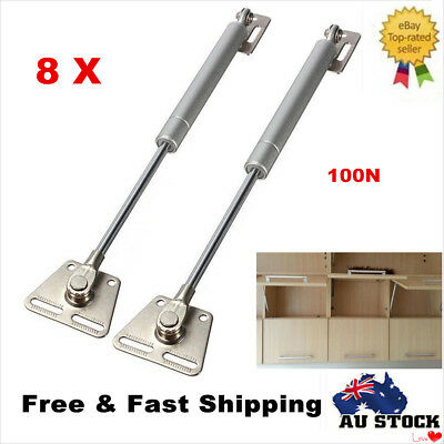 8 X Gas Strut 100N Hydraulic Lift Support Kitchen Cupboard Door Cabinet Hinges