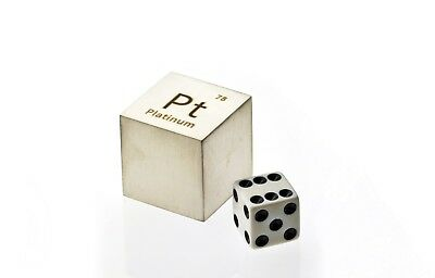 Platinum Metal 10mm Density Cube 99.95% Pure for Element Collection