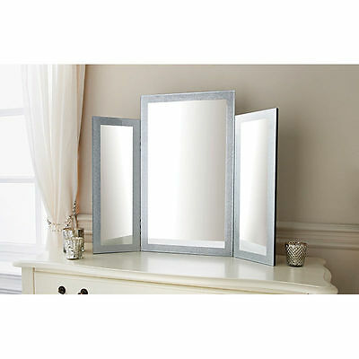 New 3 Piece Glitter Dressing Table Mirror Freestanding Large Bedroom Make-up