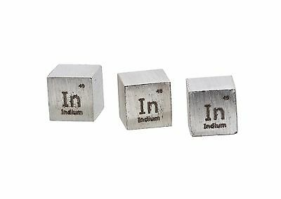 Indium Metal 10mm Density Cube 99.95% Pure for Element Collection