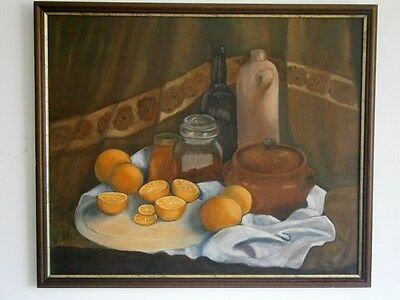 Large Attractive Vintage Still Life Oil Painting Gilt Edge Wooden Frame,signed