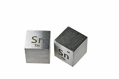 Tin Metal 10mm Density Cube 99.9% Pure for Element Collection