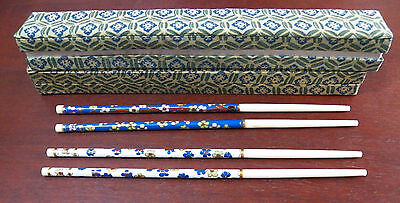 His & Hers Cloisonné Enamel Decorated Chopsticks With Flower Pattern