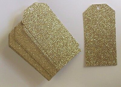 GOLD Glitter GIFT Tags x 50  Size 60 x 120mm Glitter does not come off